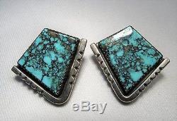 ESTATE Vintage Navajo J. Nelson LONE MOUNTAIN Turquoise Sterling Earrings C623