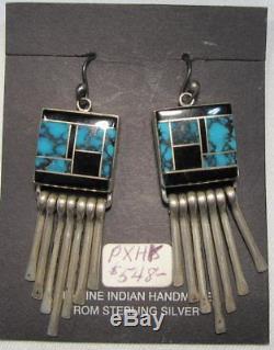 ESTATE Vintage Sterling Silver NAVAJO Turquoise Spiderweb Dangle Earrings C961