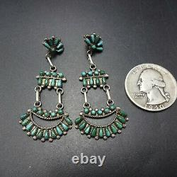EXQUISITE Vintage ZUNI Sterling Silver TURQUOISE Snake Eye Petit Point EARRINGS