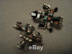 Early 1900's Vintage Zuni Turquoise Sterling Silver Earrings