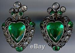 Early Hobe Vintage Sterling Carved Emerald Glass Rhinestone Heart Earrings