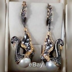 Earrings Russian Sterling silver Faberge design fine Enamel vintage antiquary