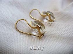 Earrings Vintage Russian USSR Natural Rock Crystal Gilt Sterling Silver 875
