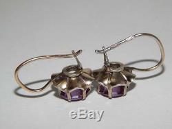 Earrings Vintage Soviet Sterling Silver 875 Stud Ear Women Green Alexandrite