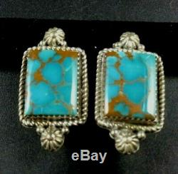 Elegant Versatile Vintage NAVAJO Sterling Silver TURQUOISE EARRINGS Clip-On