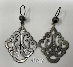 Elegant Vintage Sterling Silver Mexican Taxco Cutout Dangle Pierced Earrings