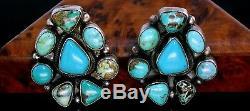Ella Peter Navajo Sterling Silver Turquoise Cluster Earrings Vintage