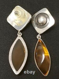 Estate Gorgeous Modernist Sterling Silver Amber Dangle Earrings Vintage Chic