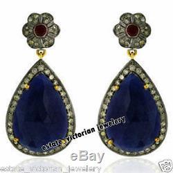 Estate Vintage 3.02Cts Rose Cut Diamond Gemstone Sterling Silver Jewelry Earring