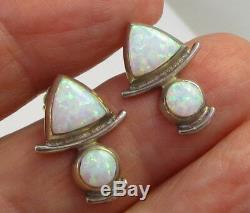 Estate Vintage Gorgeous Luminescent Opal Sterling Silver Indigo Pierced Earrings