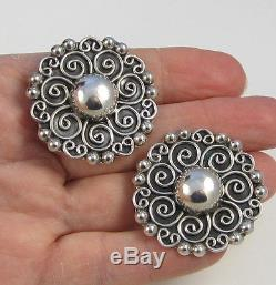 Estate Vintage Huge Swirl Flower Taxco Mexico Sterling Silver Clip On Earrings