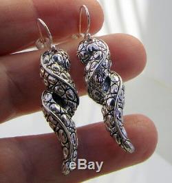 Estate Vintage John Hardy JAI Sterling Silver Swirl Dangle Long Pierced Earrings