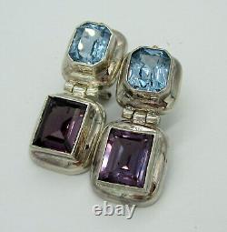 Estate Vintage Large Sterling Silver Blue Topaz Amethyst Drop Pierced Earrings