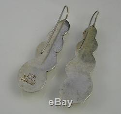 Estate Vintage Lovely Sterling Silver Taxco Mexico Long Drop Pierced Earrings