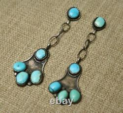 Extra Long Vintage Native American Sterling Silver Turquoise Earrings