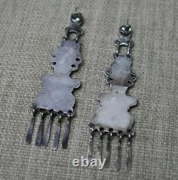 Extra Long Vintage Native American Zuni Sterling Silver Turquoise Earrings