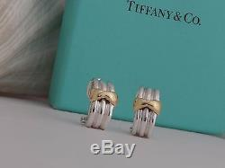 Extremely Rare! Vintage Tiffany & Co Sterling Silver & 750 18K Gold Bow Earrings
