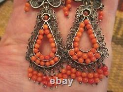 FRIDA KAHLO STYLE TAXCO 3.75 FILIGREE Sterling Silver CORAL Dangle Earrings