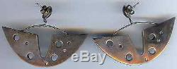 Fabulous Large Vintage Sterling Sculpural Modernist Pierced Dangle Earrings