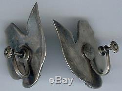 Fabulous Vintage Mexico Sterling Silver & Amethyst Fish Screw Back Earrings