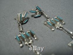 Fabulous Vintage Zuni Turquoise Sterling Silver Naitve American Earrings Old