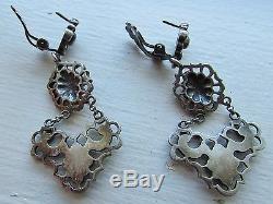 Fantastic Vintage Sterling Silver (835) Earrings Baroque Chandelier Hallmarked