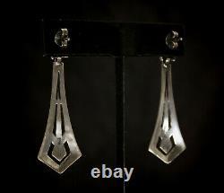 Fine Antique Art Deco Sterling Silver 925 Marcasite Meteor Shower Earrings +++