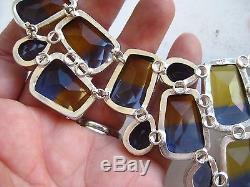 Fine Vintage Sterling Silver Jeweled Glass Designer Runway Bib Necklace