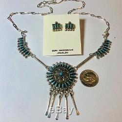 Fine Zuni Needlepoint Turquoise Necklace Earring Philander Gia Set Sterling VTG