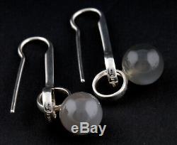 GEORG JENSEN Sterling Earrings / Ear Hooks # 473A w. Moonstone. R. Overgaard