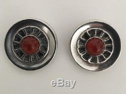GEORG JENSEN Vintage Sterling Silver And Agate Clip On Earrings