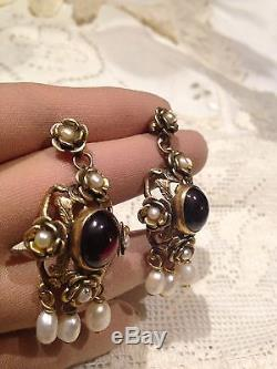 Garnet Gemstone Gold Vermeil 92.5% Sterling Silver Vintage Earrings