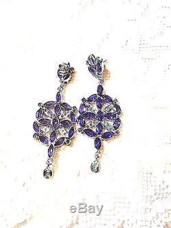 Genuine Blue Iolite Real Emerald 925 Sterling Silver Vintage Earrings