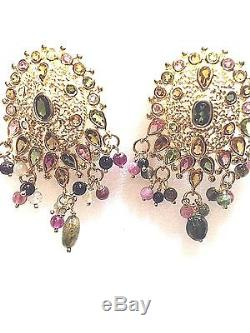 Genuine Tourmaline Gold Finish 925 Sterling Silver Vintage Persian Earrings