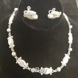 Georg Jensen Denmark Vintage Sterling Silver Necklace & Earrings Set
