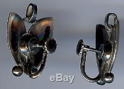 Georg Jensen Denmark Vintage Sterling Silver Tulip Necklace & Earrings Set