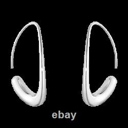 Georg Jensen Offspring Sterling Silver Earhoop Estate Earrings Vintage 10016947
