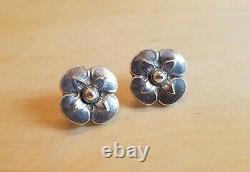 Georg Jensen Vintage Flower Sterling Silver Earrings Screw Back