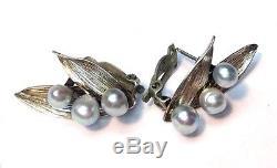 Gorgeous! VTG Ming's Blue Grey Pearl Sterling Silver Earrings (Pierced- Convert)
