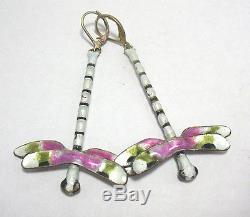 Gorgeous Vintage Sterling Silver Enamel Dragonfly Earrings Pierced