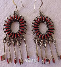 Gorgeous Vintage ZUNI Sterling Silver & Red Coral Needlepoint Dangle EARRINGS