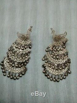 Gorgeous vtg. Sterling silver 925 filigree articulated tiers peacock earrings