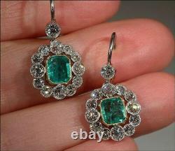 Green Emerald 925 Sterling Silver Vintage Style Brilliant-cut Halo CZ Earrings
