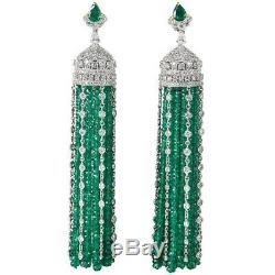 Green beads dangle earring solid 925 sterling silver cz Vintage high end jewelry