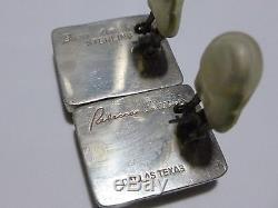 Heavy 1 Rebecca Collins Vintage Sterling Silver Carved Jade Clip Earrings