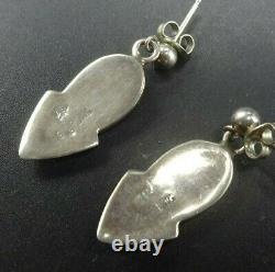 HOSKIE Vintage NAVAJO Sterling Silver INLAY EARRINGS Turquoise Opal Sugilite