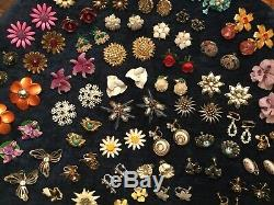 HUGE VINTAGE LOT CLIP/SCREW ON FLOWER EARRINGS Star Sterling Coro Made In Italy