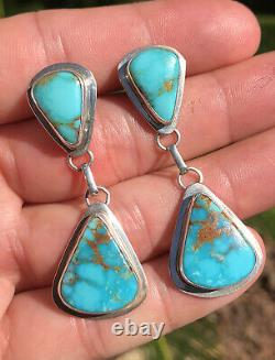 HUGE Vintage Navajo Sterling Silver Natural Blue Gem Turquoise Dangle Earrings