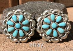 HUGE Vtg Pawn Navajo Sleeping Beauty Turquoise Sterling Silver Cluster Earrings