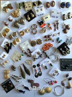 Huge 800 Pairs Vintage & Modern Pierced Earring Lot 14k Gold, 925 Sterling